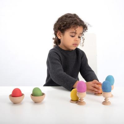 Rainbow Wooden Eggs - Set von 7